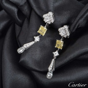 Cartier Platinum Mousseline Diamond Earrings